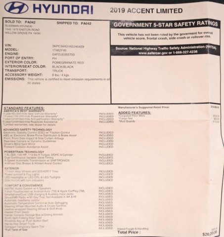 Certified Pre-Owned 2019 Hyundai Accent Limited