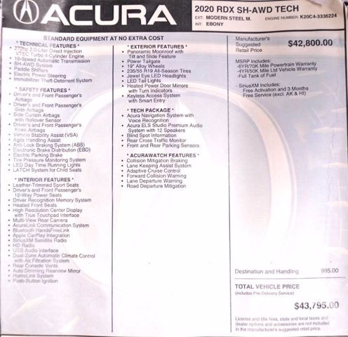 Certified Pre-Owned 2020 Acura RDX w/Technology Pkg