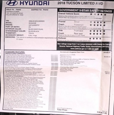 Certified Pre-Owned 2018 Hyundai Tucson Limited